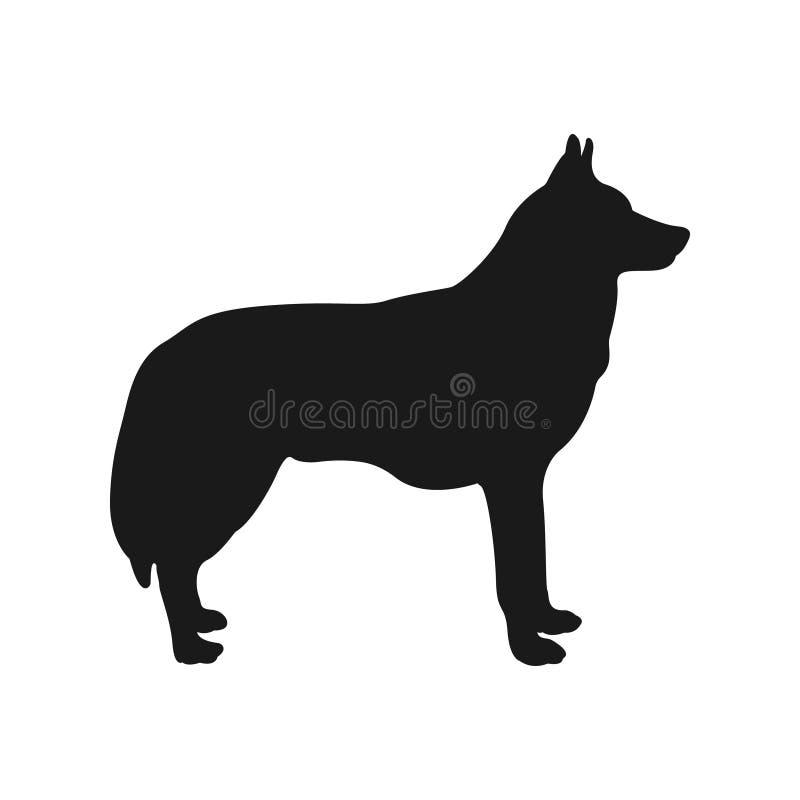 狗剪影爱斯基摩 向量 皇族释放例证