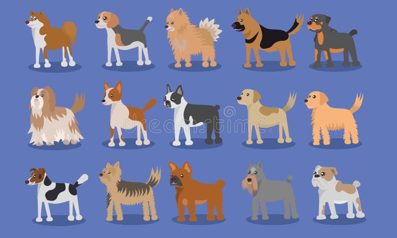 狗动画片逗人喜爱的传染媒介设计 库存例证
