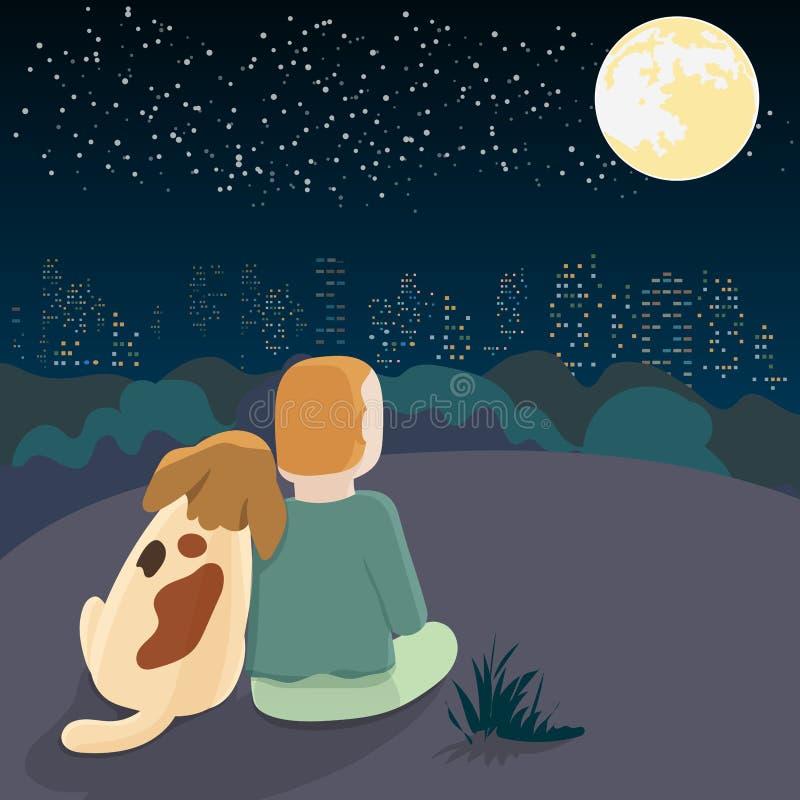 狗反对所有者坐俯视城市的小山在晚上 向量例证
