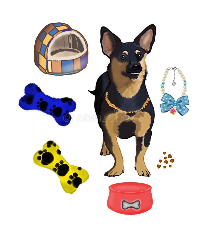 狗和它是辅助部件 皇族释放例证