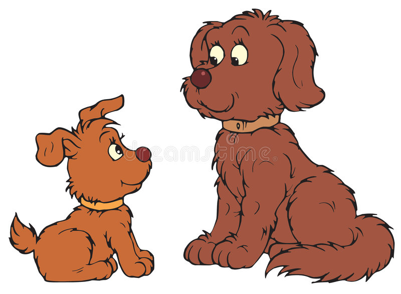 狗和小狗(向量夹子艺术) 向量例证