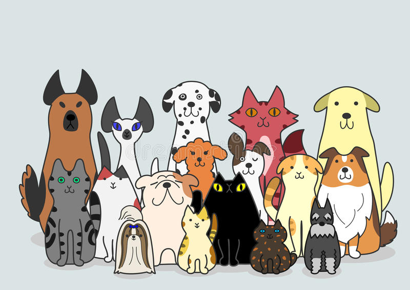 狗和猫小组 向量例证