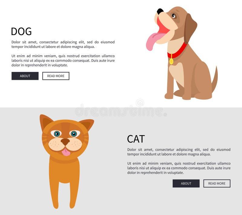 狗和猫概念性横幅传染媒介例证 皇族释放例证
