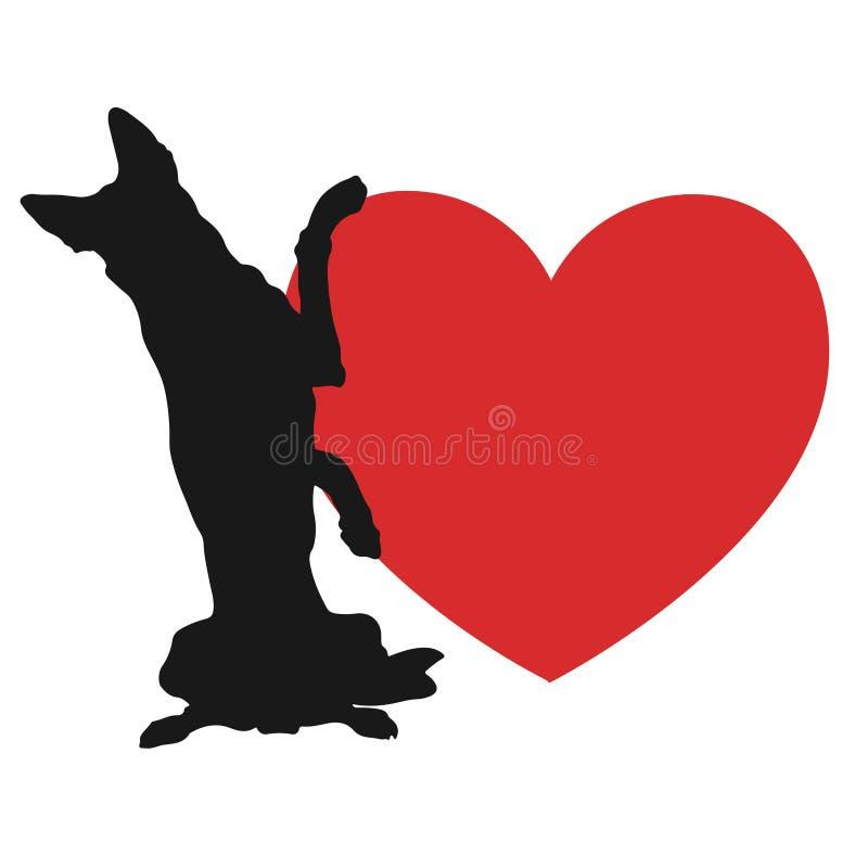 狗和猫爱心脏黄色商标 皇族释放例证