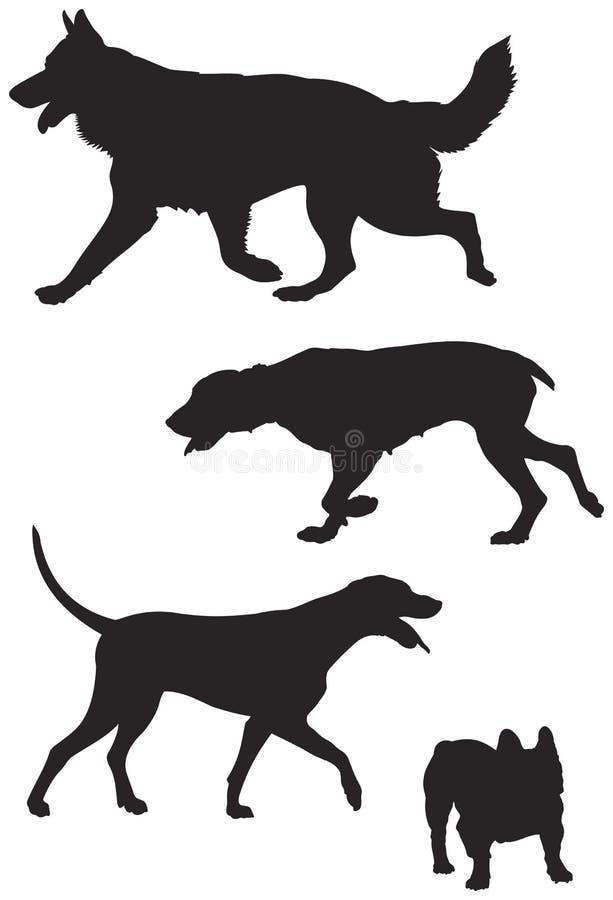 狗品种现出轮廓7 库存例证