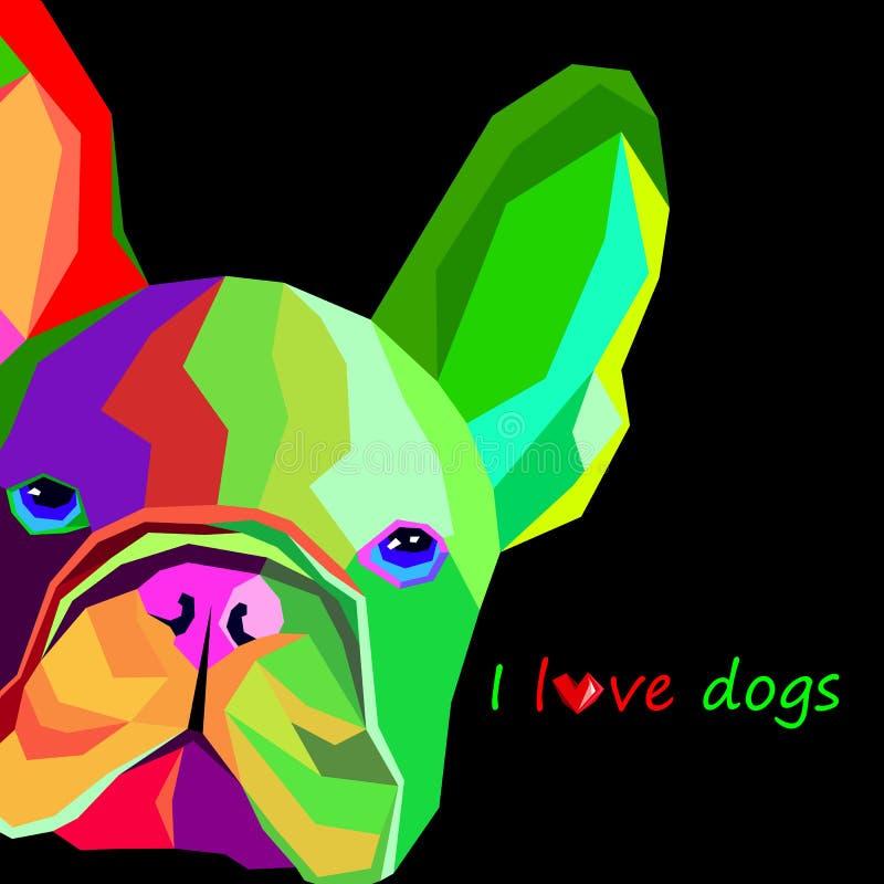 狗品种逗人喜爱的宠物牛头犬法语 库存例证