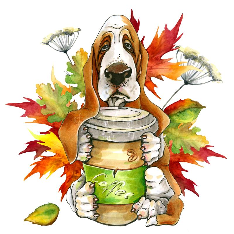 狗品种露头Hund 拿着一杯咖啡 秋叶 逗人喜爱的小狗 皇族释放例证