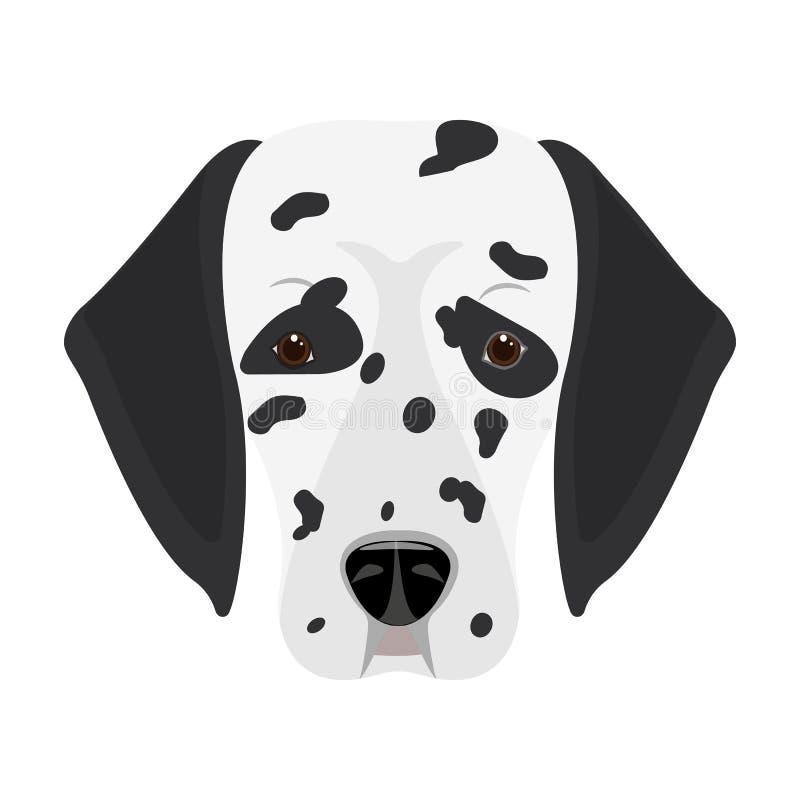 狗品种,达尔马提亚狗 一个达尔马希亚唯一象的枪口在动画片样式传染媒介标志股票例证网的 向量例证