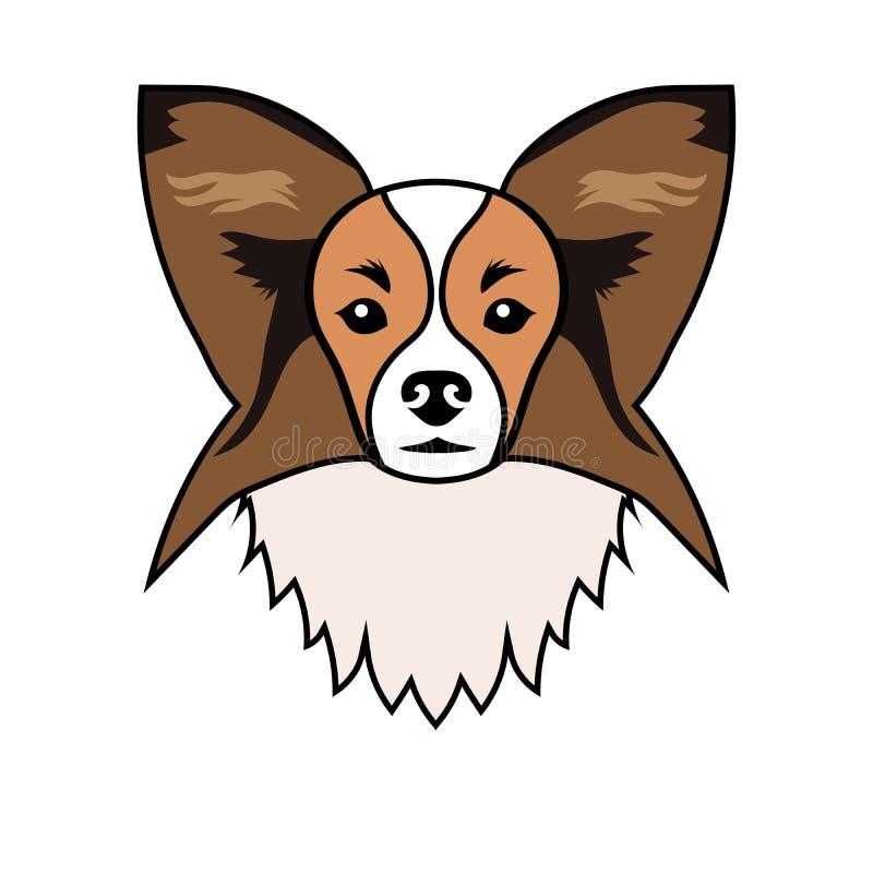 狗品种Papillon的画象 库存例证