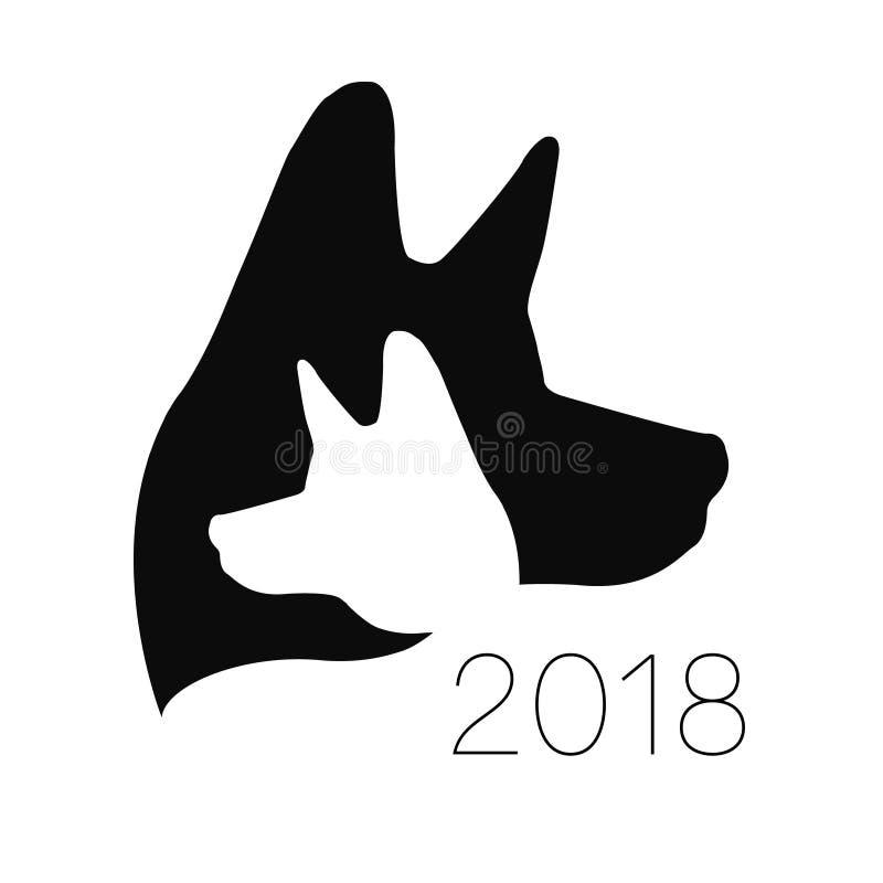 狗商标传染媒介 黑色颜色 剪影宠物 爪子标志 网的标签,诊所,商店,医疗,关心,略写法 库存例证