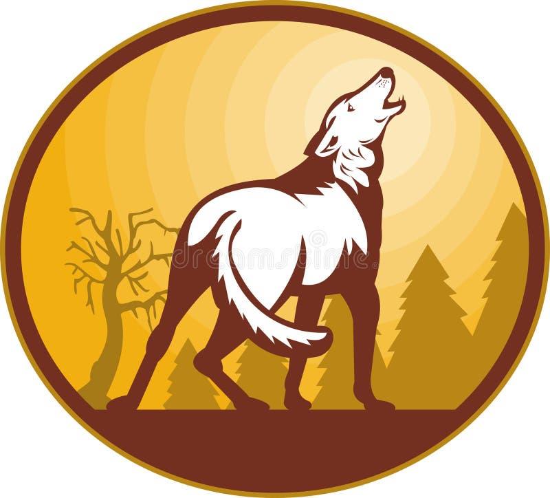 狗嗥叫月亮野生狼 向量例证