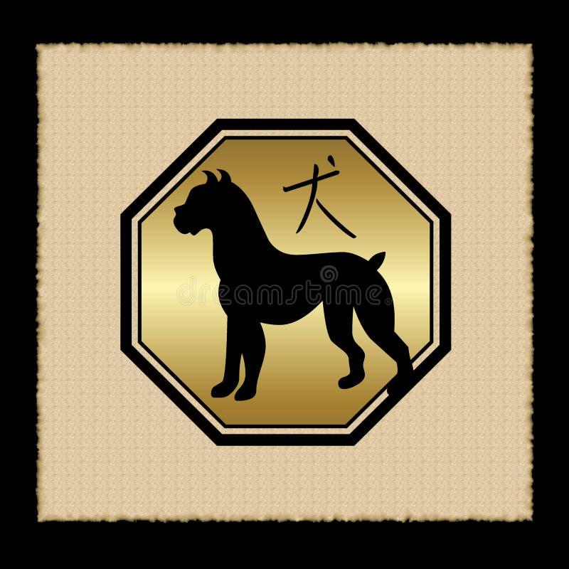 狗图标黄道带 向量例证