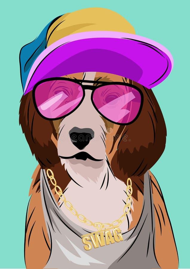 狗在Hip Hop样式,传染媒介例证装饰了 库存例证