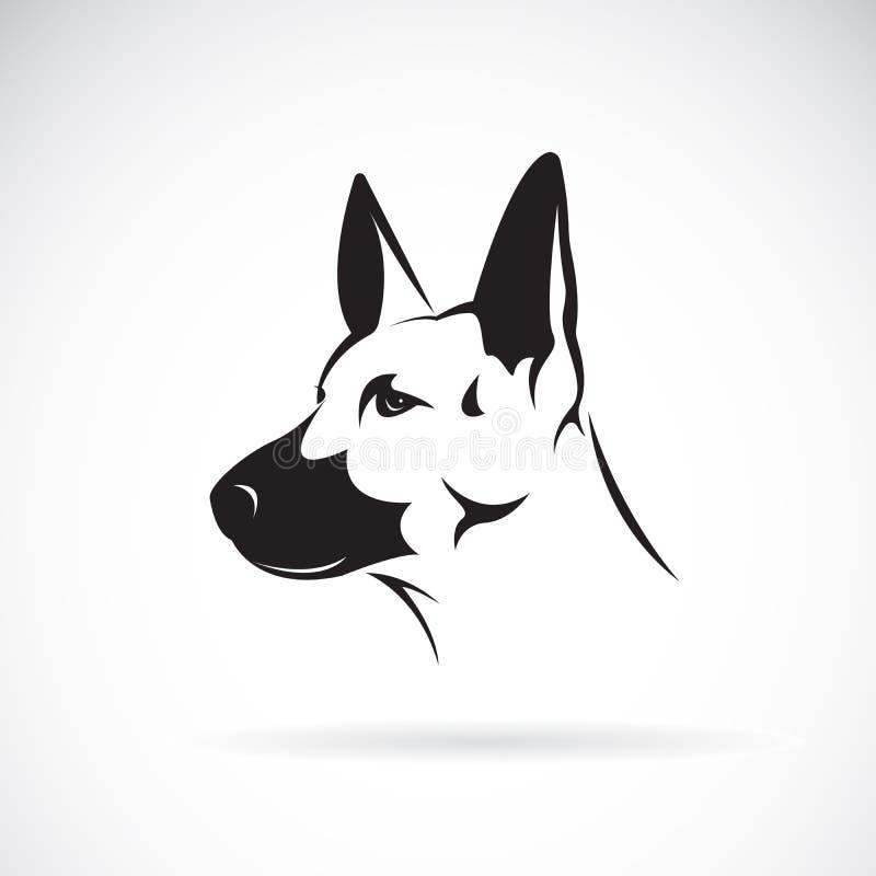 狗头德国牧羊犬传染媒介白色背景的,宠物 向量例证