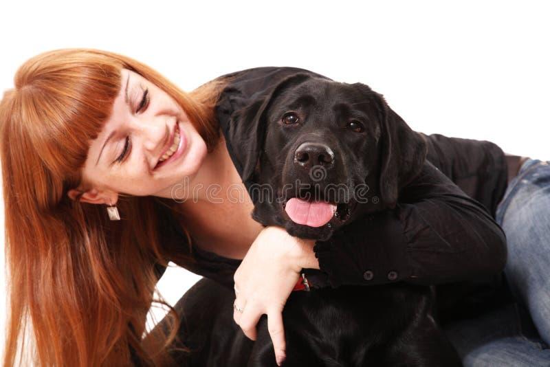 狗女孩头发的纵向红色 库存照片