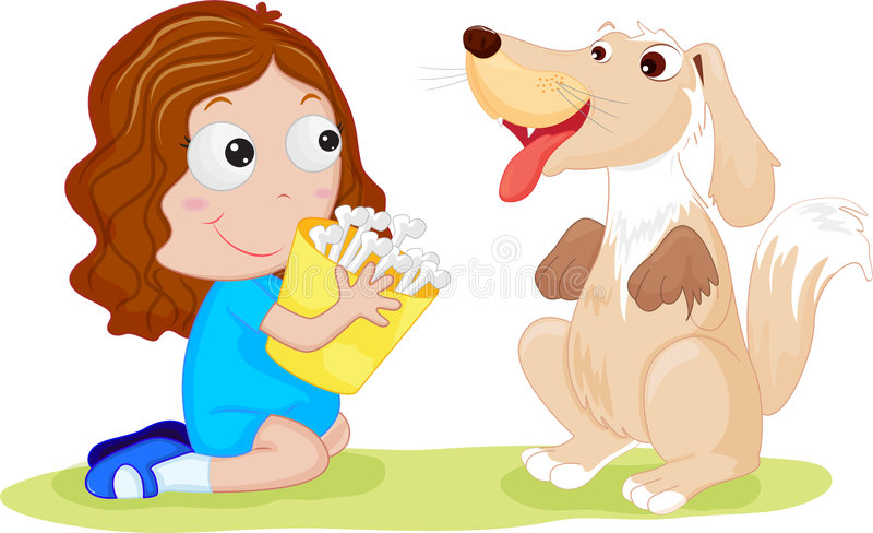 狗女孩她的宠物 向量例证