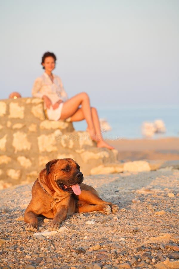 狗妇女年轻人 免版税图库摄影