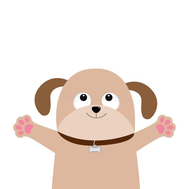 狗小狗面孔 宠物汇集 查寻的狗,手爪子印刷品拥抱 平的设计 逗人喜爱的动画片滑稽的字符 奶油被装载的饼干 皇族释放例证