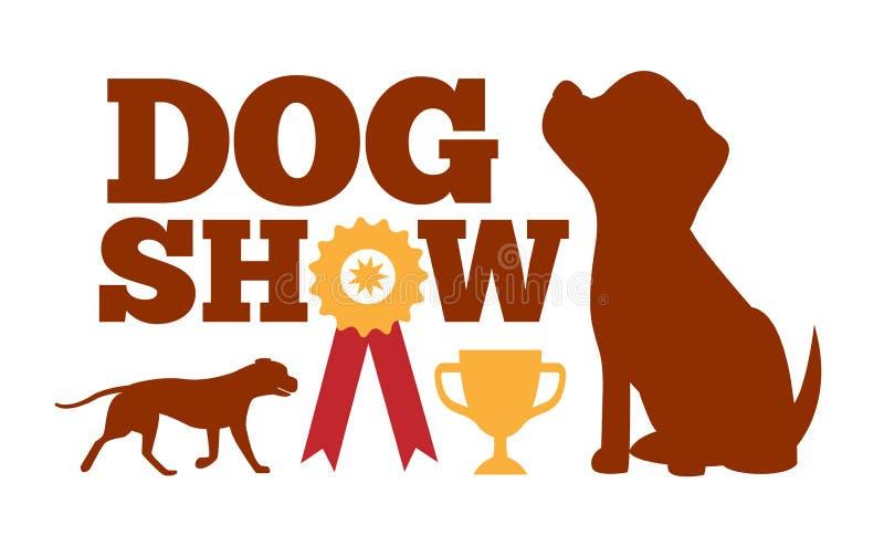 狗展示广告卡片,布朗尾随剪影 向量例证