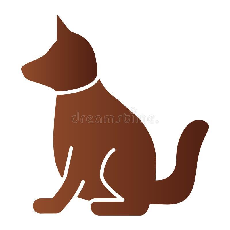 狗平的象 在时髦平的样式的动物颜色象 小狗梯度样式设计,设计为网和应用程序 10 eps 库存例证
