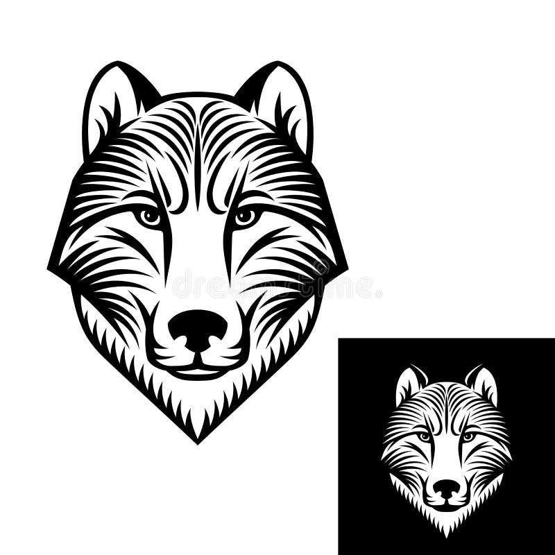 狗或狼顶头商标或者象在一种颜色 设计例证股票您使用的向量 库存例证