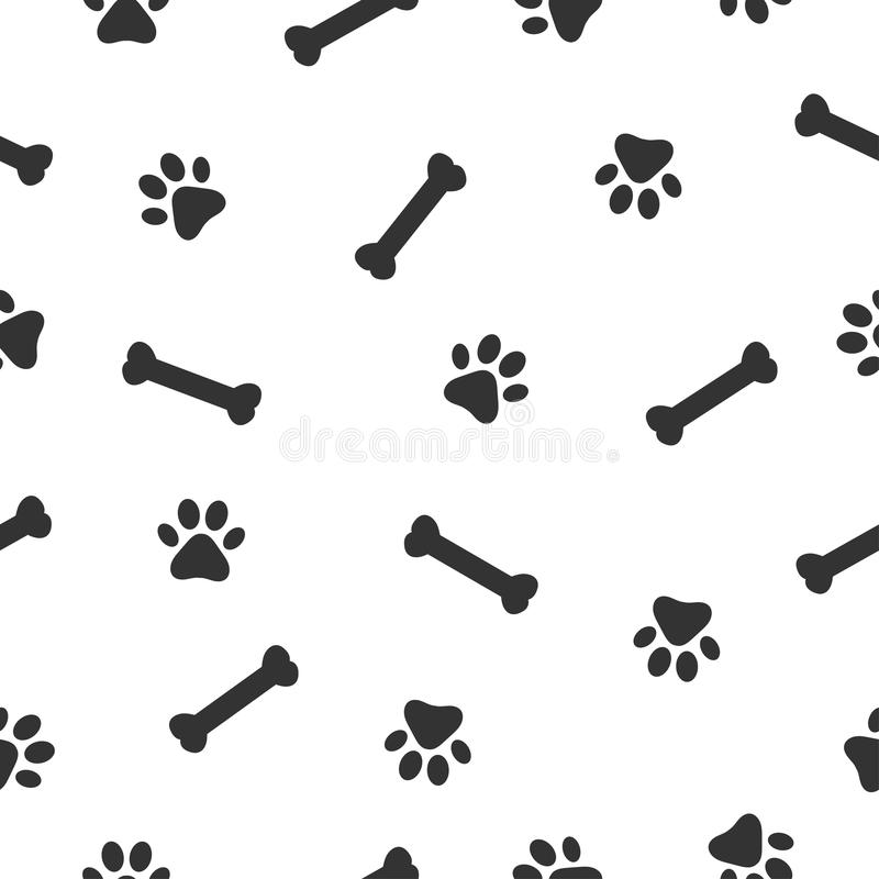狗或猫爪子和骨头无缝的样式 动物爪子印刷品 向量例证