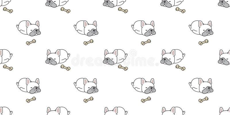 狗无缝的样式传染媒介法国牛头犬睡觉骨头动画片围巾被隔绝的重复墙纸瓦片背景例证dood 皇族释放例证