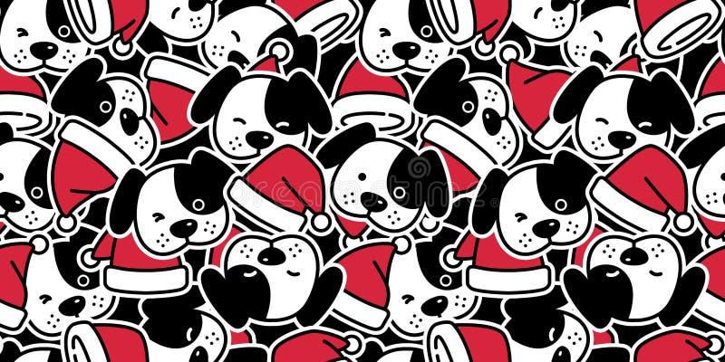 狗无缝的样式圣诞节传染媒介圣诞老人项目帽子法国牛头犬小狗顶头骨头围巾被隔绝的动画片例证重复wa 库存例证