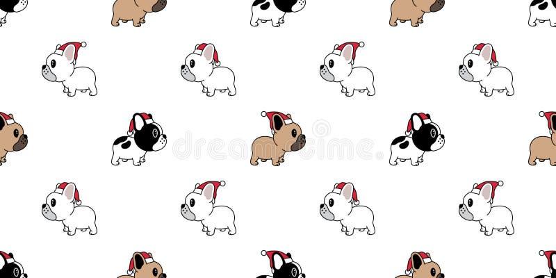 狗无缝的样式圣诞节传染媒介法国牛头犬圣诞老人项目Xmas帽子围巾骨头动画片例证被隔绝的瓦片背景 向量例证