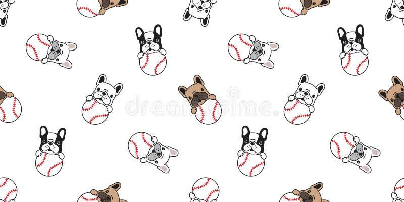 狗无缝的样式法国牛头犬传染媒介棒球网球爪子脚印骨头顶头小狗宠物围巾被隔绝的瓦片背景r 向量例证