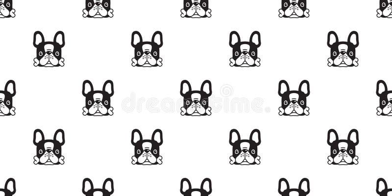 狗无缝的样式法国牛头犬传染媒介骨头宠物围巾被隔绝的小狗瓦片背景重复墙纸动画片例证 库存例证
