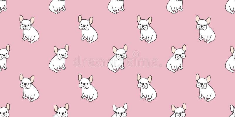 狗无缝的样式法国牛头犬哈巴狗坐被隔绝的墙纸背景桃红色 向量例证