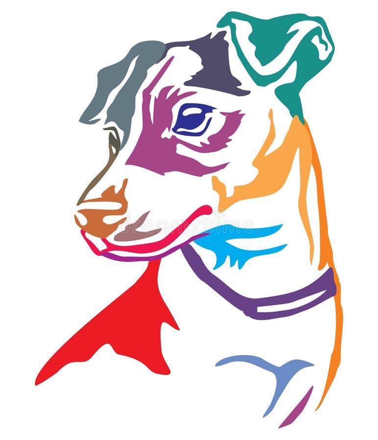 狗杰克罗素狗传染媒介五颜六色的装饰画象  库存例证