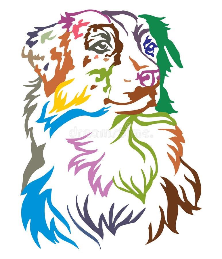 狗澳大利亚牧羊人传染媒介五颜六色的装饰画象我 向量例证