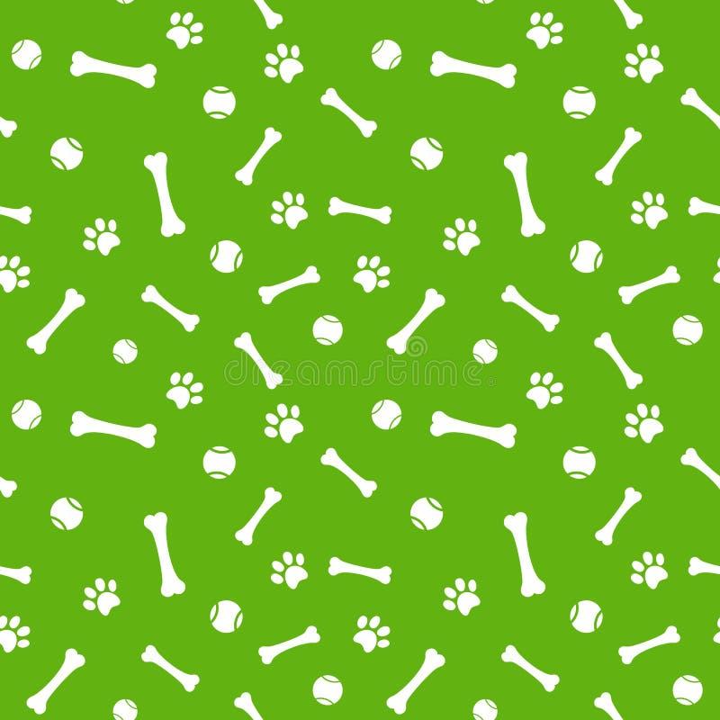 狗爪子印刷品、骨头和球无缝的样式 皇族释放例证