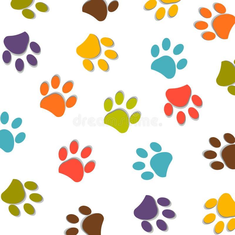 狗爪子印刷品五颜六色的样式传染媒介 向量例证