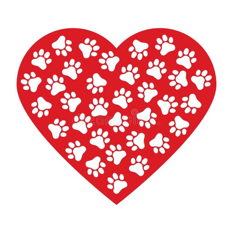 狗爪子印刷品由红色心脏传染媒介例证背景制成 库存例证