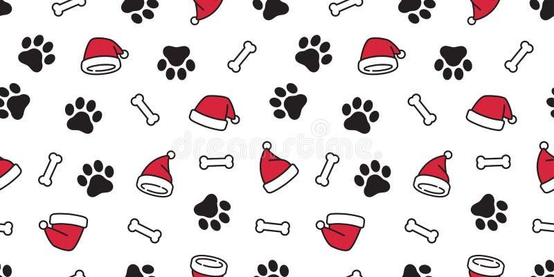 狗爪子无缝的样式传染媒介圣诞节圣诞老人Xmas帽子法国牛头犬骨头瓦片背景动画片围巾隔绝了重复w 皇族释放例证