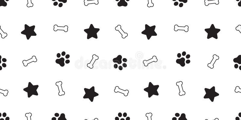 狗爪子无缝的样式传染媒介法国牛头犬狗骨头星瓦片背景围巾被隔绝的墙纸重复 向量例证