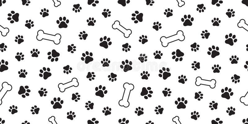狗爪子无缝的样式传染媒介法国牛头犬狗骨头瓦片背景围巾被隔绝的墙纸重复 向量例证