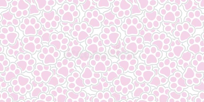 狗爪子无缝的样式传染媒介猫爪子脚印刷品被隔绝的墙纸重复背景桃红色 向量例证