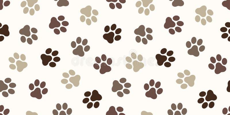 狗爪子无缝的样式传染媒介猫爪子脚印刷品隔绝了墙纸背景背景褐色 免版税库存照片