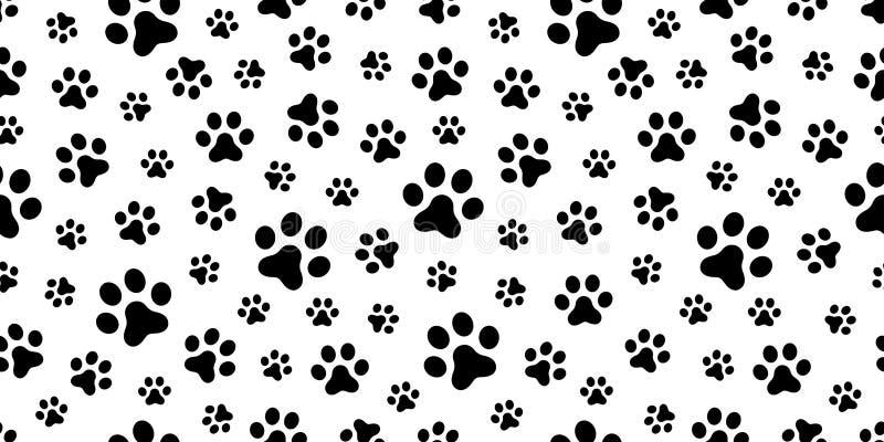 狗爪子无缝的样式传染媒介猫爪子脚印刷品隔绝了墙纸背景 库存图片