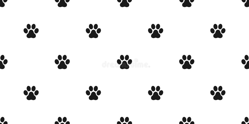 狗爪子无缝的样式传染媒介脚印刷品爪子猫小狗小猫墙纸隔绝了背景白色 向量例证