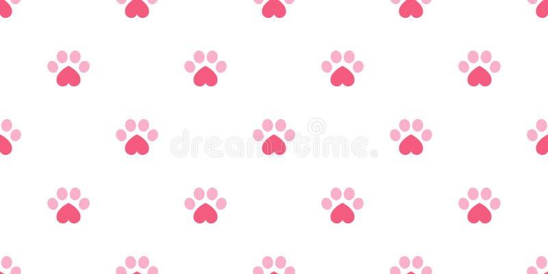 狗爪子无缝的样式传染媒介脚印心脏华伦泰小猫小狗瓦片背景重复墙纸隔绝了例证桃红色 库存照片