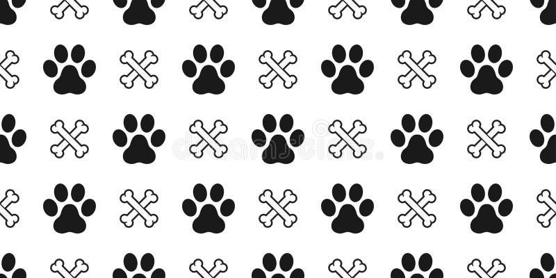 狗爪子无缝的样式传染媒介骨头猫爪子小狗小猫动画片被隔绝的重复墙纸瓦片背景 皇族释放例证
