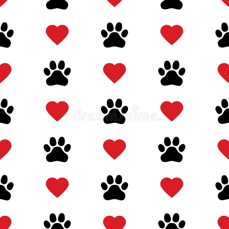 狗爪子猫爪子心脏爱小狗脚印刷品小猫华伦泰传染媒介无缝的样式 库存例证