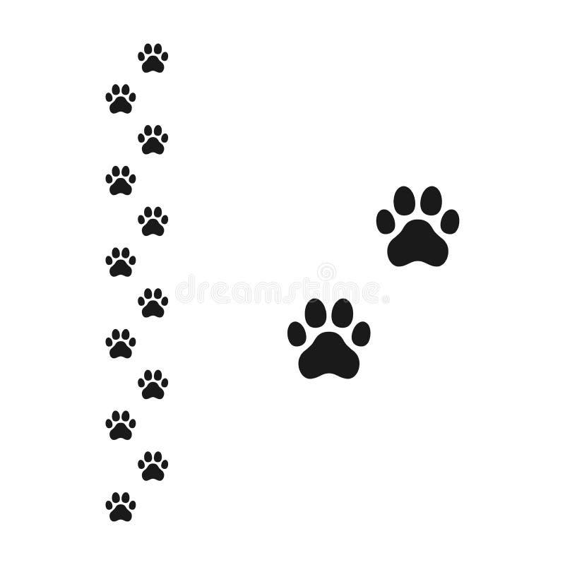 狗爪子脚印黑色与小径踪影的传染媒介标志 库存例证