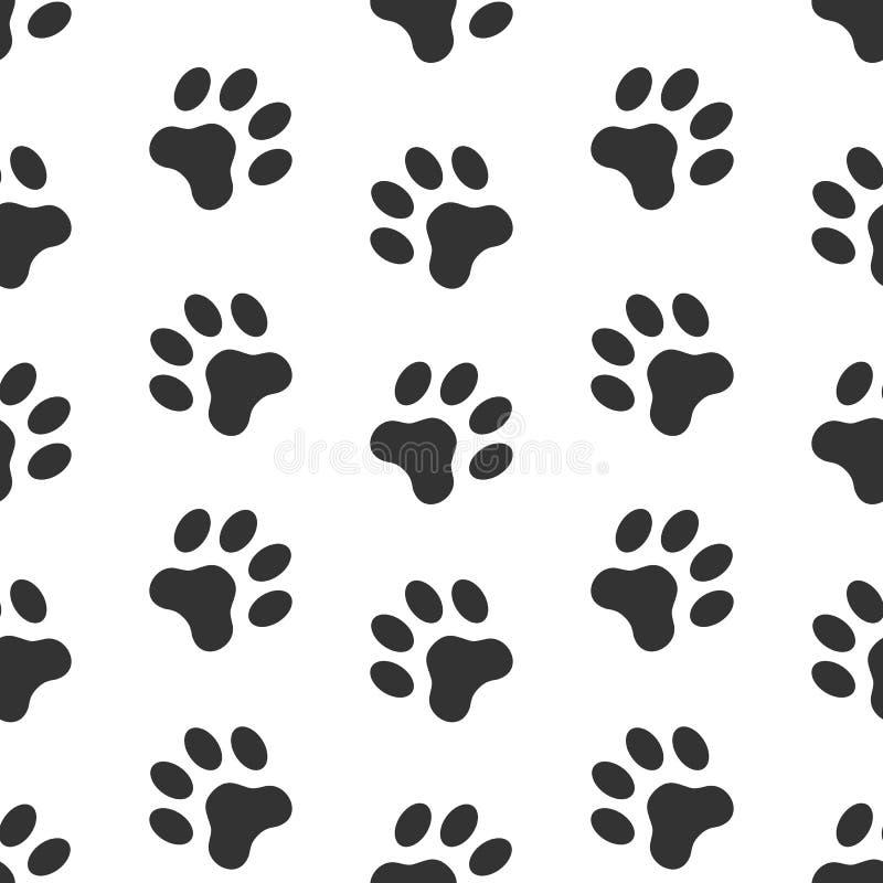 狗爪子轨道的无缝的传染媒介样式 Pawprints 库存例证