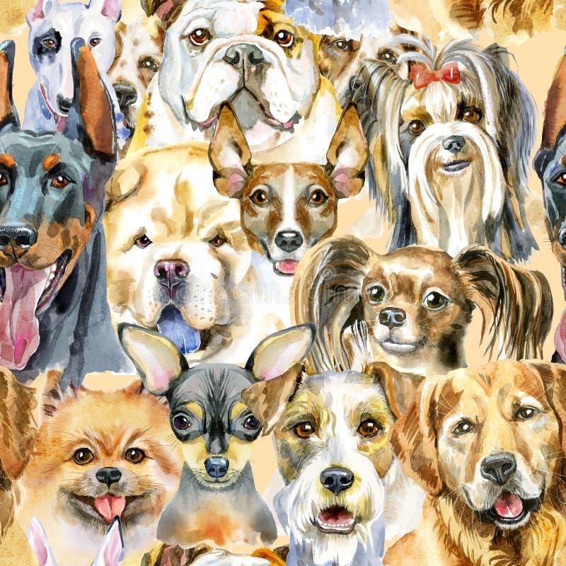 狗的水彩无缝的样式在白色背景的 皇族释放例证